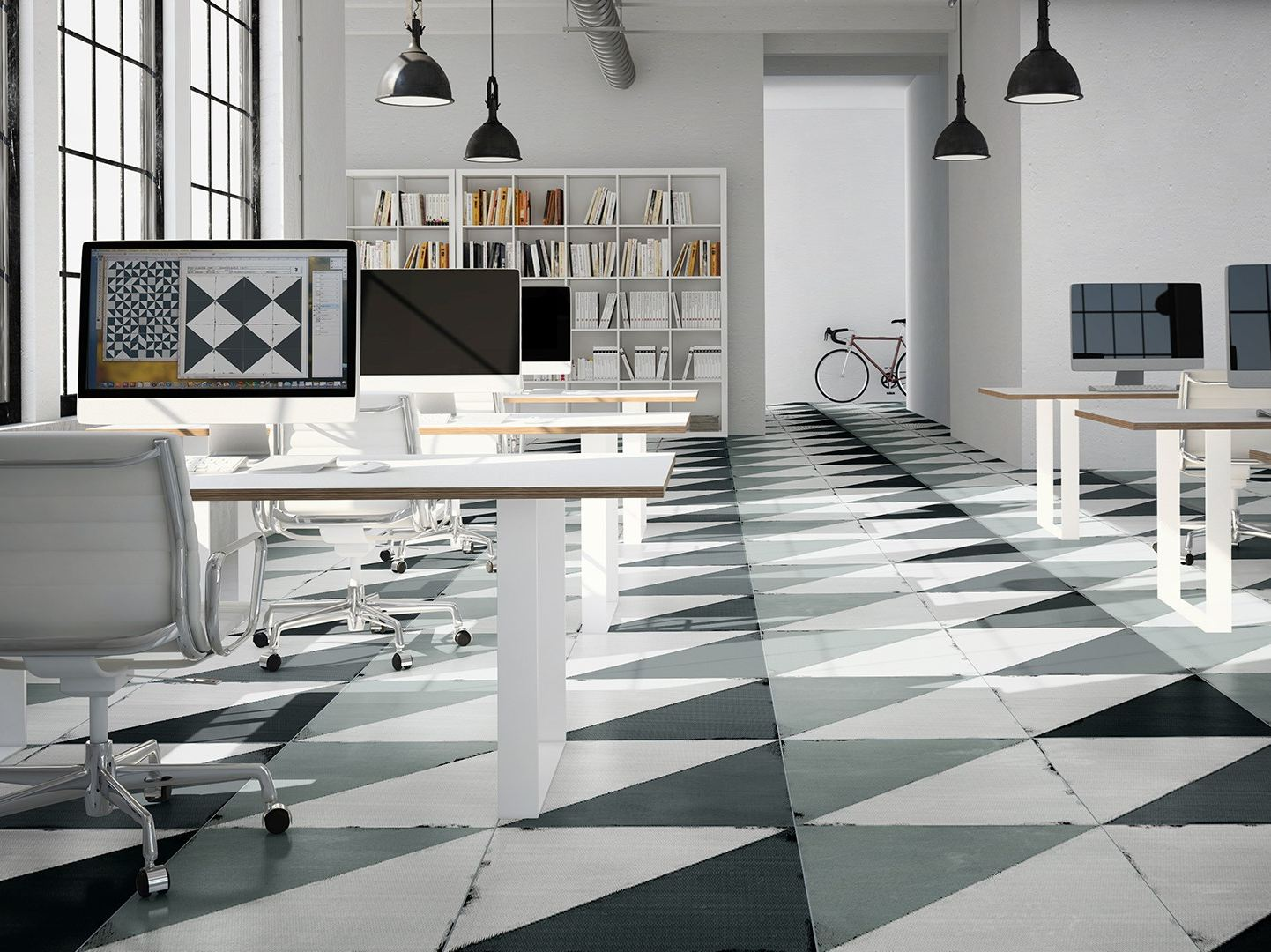 White porcelain tile flooring